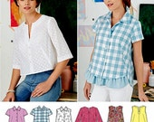 Button Blouse Pattern, Pullover Top Pattern, Simplicity Sewing Pattern 8090