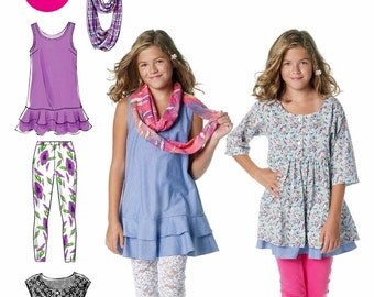 Tween Girls' Dress Pattern, Girls' Knit Leggings Pattern, Girls' Tunic Pattern,  McCall's Sewing Pattern 6275