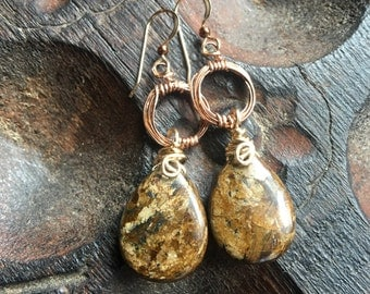 Bronzite Shimmer earrings, 14k Yellow and Rose Gold filled, Bronzite, and Hematite, ThePurpleLilyDesigns