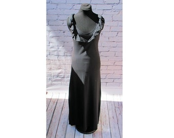 Black Maxi Dress, Empire Waist Maxi Dress, Ruffle Maxi Dress, Organic Cotton Maxi Dress, Eco friendly Sleeveless Sun Dress