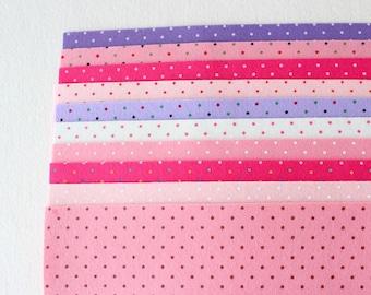 Polka Dot Felt - Pinks and Purples 10 Sheets 6x9