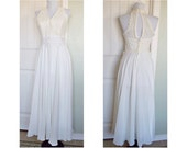 Vintage lovely halter wedding dress  - chiffon skirt - applique waist - beautiful