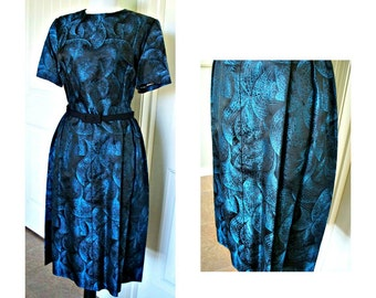 Vintage 1950s Sheath cocktail dinner dress Incredible blue vintage dress,