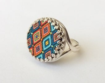 Sterling Silver Mosaic Ring, Moroccan Tile Inspired, Orange and Turquoise Blue, Boho Ring, or Choose Gold, Rose Gold or Bronze