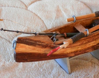 Miniature Handcrafted Miniature Wooden Fishing Canoe with Two Oars and Fishing Rod 7.5 inches long