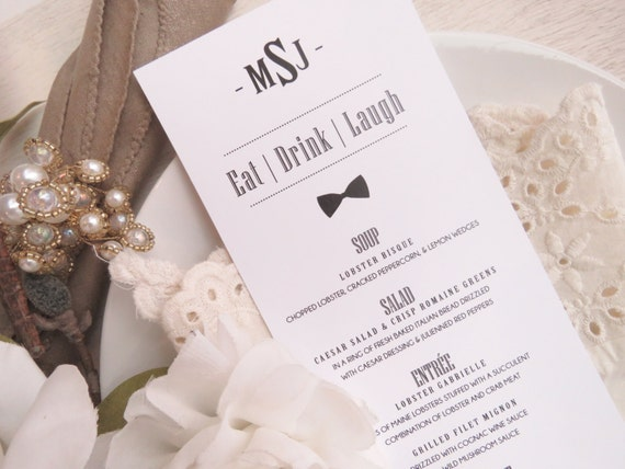 Printed wedding menu style m52 tuxedo collection wedding for Table 52 gaborone menu
