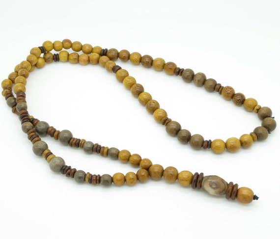 Mens brown robles and grey wood beaded necklace