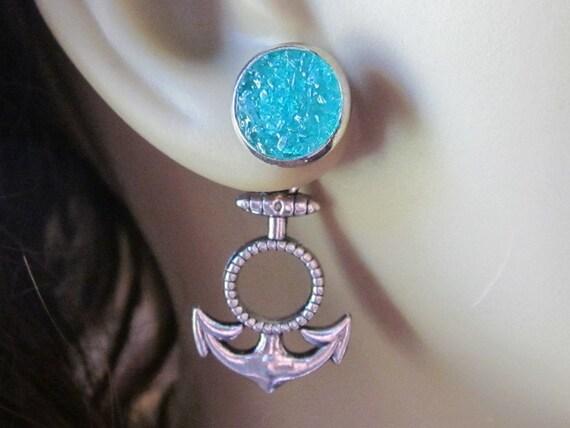 Anchor Earrings Nautical Earrings Anchor Stud Earrings Turquoise Anchor Ear Jackets Silver Blue 8mm Studs Pressed Glass Earrings Green