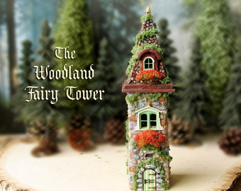 The Woodland Fairy Tower of The Bewildering Pine - Miniature Enchanted Stone Tower with Window Boxes, Mossy Tile Roof and Wooden Door