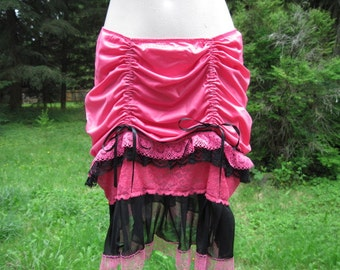Gorgeous Pink and Black Lace Up-Cycled Slip Skirt