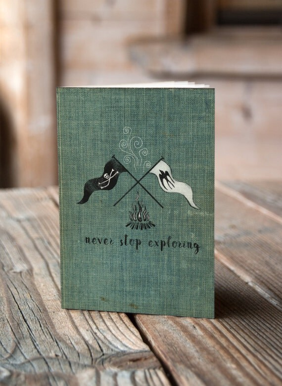 Never Stop Exploring - Campfire Flags -  Notebook / Sketchbook / Journal