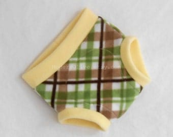 Extra Large Golf Plaid Anti-Pill Fleece Diaper/Underpants Cover/Soaker XL, Yellow Green Brown White, Ready to Ship St. Patrick's Day Easter