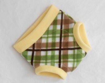 Large Golf Plaid Anti-Pill Fleece Diaper/Underpants Cover/Soaker, Pale Yellow Green Brown White, Ready to Ship St. Patrick's Day Easter