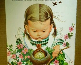 Children's Art Illustration/Eloise Wilkin 1950's/Little Girl with Pigtails/Looking at Birds Nest