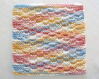 Hand Knit Dishcloth, Cotton Knit Washcloth, Blue Yellow Pink Dishcloth