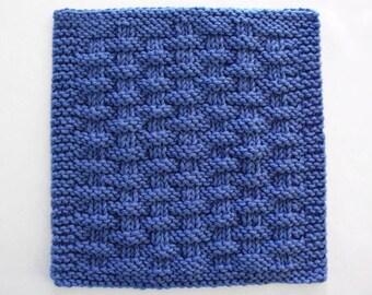 Blue Dishcloth, Cotton Knit Dishcloth, Knitted Washcloth, Blue Kitchen Decor