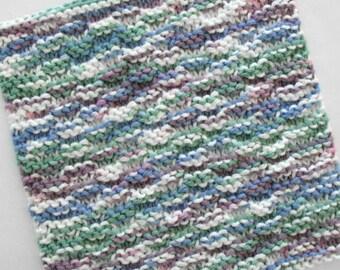 Knit Washcloth, Cotton Washcloth, Knitted Washcloth, Face Cloth, Knit Dishcloth, Blue Purple