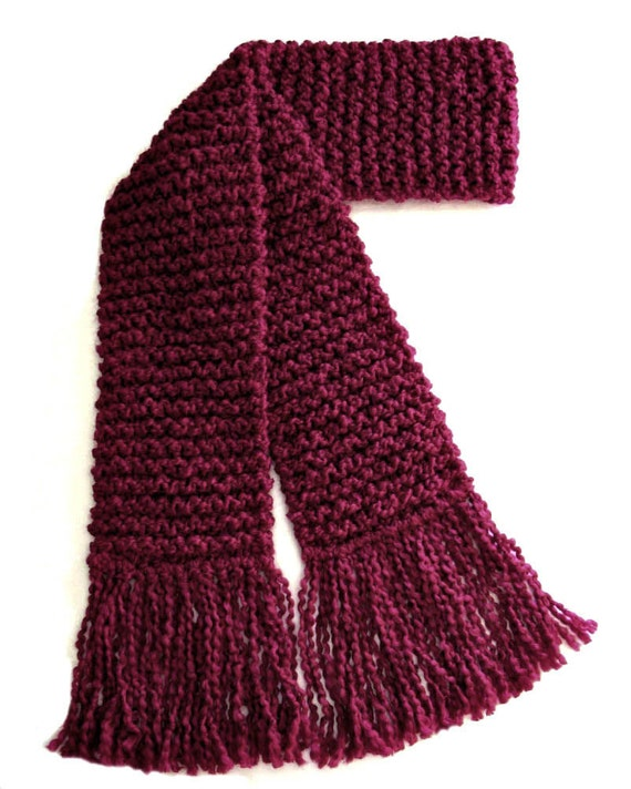 Burgundy Scarf Long Chunky Knit Scarf Winter Scarf Dark Red