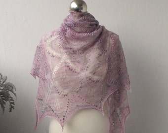Pink and grey  hand knitted luxurious merino lace shawl