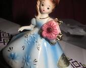 Josef Figurine October Birthday Doll Original Birthstone Representing an Opal Pink Stone