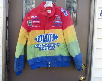 Vintage Chase Authentic Nascar Jeff Gordon tie dyed rainbow Jacket Dupont Automotive Finishes     nascar good condition