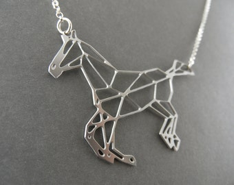 horse necklace, geometric jewelry, horse jewelry, geometric horse, galloping horse ,galloping horse necklace