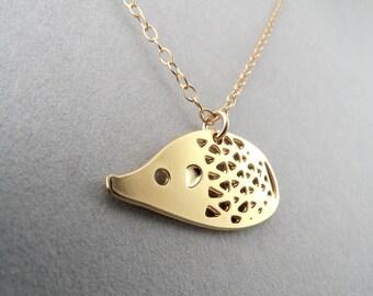 hedgehog necklace, little hedgehog necklace, hedgehog charm, animal jewelry, animal necklace, gifts under 50, gift for her