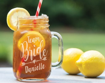 Team Bride Personalized with Name Mason Jar for Bachelorette Bash, Party, Bridal Shower, Bridesmaid Gifts 16oz or 24oz Bulk Discount