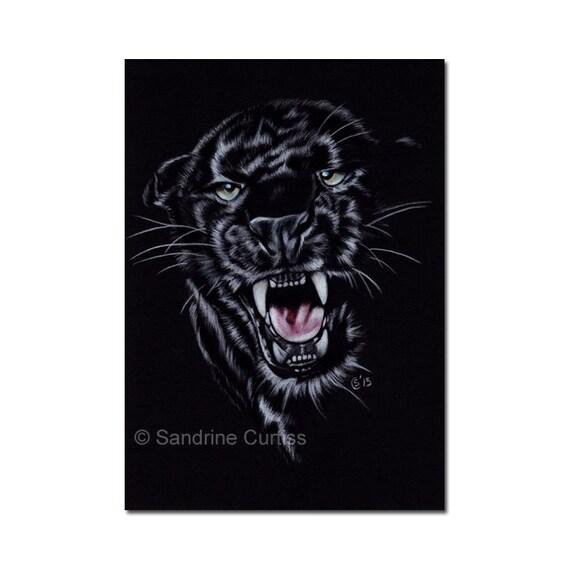 "BLACK PANTHER 16 jaguar big cat painting pencils Sandrine Curtiss ORIGINAL Art 5x7"""