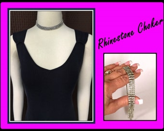 Vintage Rhinestone Choker, Fits small Neck, Formal, 4 Strands, 1980's