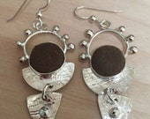 Sterling Silver Little Masterpiece Earrings with Brown Vintage Buttons