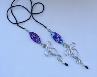 Purple drizzle beaded eyeglass chain