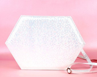 SALE before 40usd iridescent white faux leather  hexagon bag cross body bag