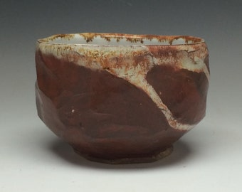 Faceted Chawan Tea Bowl Hand Made Drinking Vessel, Wabi Sabi Marbled Ceramic Tea Cup