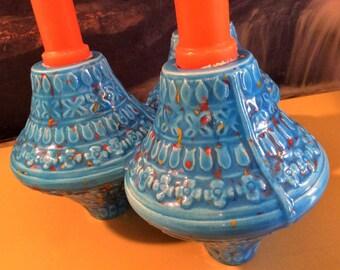 Vintage 1970's Turquoise Flecked Candle Holder/Vase Signed Daigle