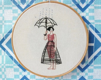 Hand Made, Embroidered Hoop Art, Scene From 'The Illusion', Wall Art, Performance Piece, Burlesque Embroidery Art, OOAK Fibre Art