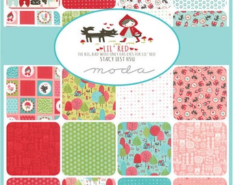 LIL RED (3) charm packs Moda precuts Folktale Fairytale maker sewing quilt fabric squares Stacy Iest Hsu aqua pink Red Riding Hood wolf
