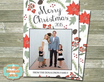 Photo Christmas Holiday Card, Personalized Christmas Card, Poinsettia, Holly, Branches, Christmas Floral, Costco Size Option