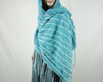 Boho Hippie Funky Soft Comfy Teal Blue Light Cotton Scarf Shawl