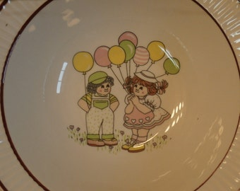 Cabbage Patch Kids Style Dolls on Vintage Children's Cereal Bowl, Holding Balloons