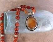 Vintage Carnelian Pendant Necklace Tibetan Pendant with Beautiful Metal Work Old Natural Carnelian Beads Mellow Rust Orange Gemstone Jewelry