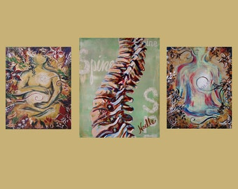 Chiropractic artwork trio wall art  set of 3 prints for office wall spine materinity pregnant after baby customized chiro chiropractor art