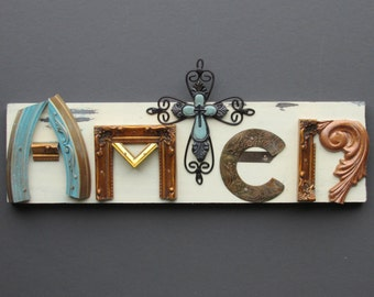 assemblage - wall art - AMEN