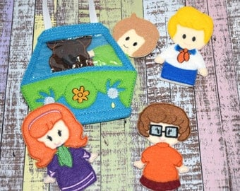Mystery Friends Finger Puppets | Van Storage Bag | Scooy Doo | Busy Bag or Book | Eco Felt Finger Puppets | Set of 6