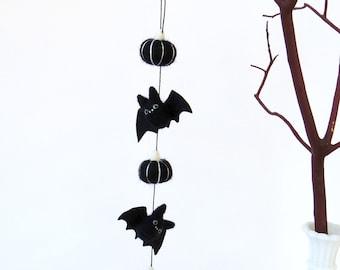 Felt bat garland, needle felted miniature black bats and black pumpkins, fall decor, cute goth Halloween