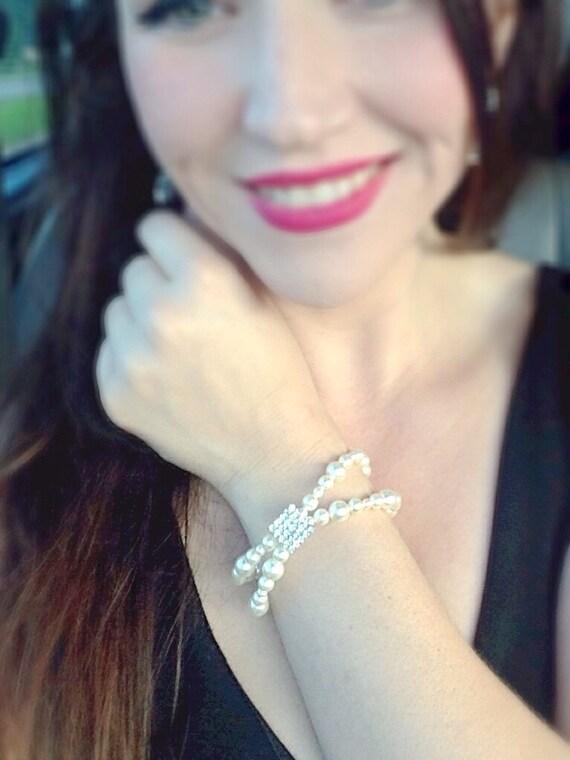 Swarovski Creamrose Light Pearl Bracelet, Sparkling Rhinestone Double Strand Bracelet