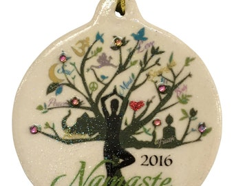 Namaste Peace Green Tree of Life 2016 Porcelain Christmas Ornament Rhinestone accent