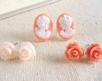 Pink Flower Earring Set, Cameo Earrings, Flower Earrings, Salmon Pink Earrings, Pink Earrings, Surgical Steel - Pink Lady Flower Earring Set