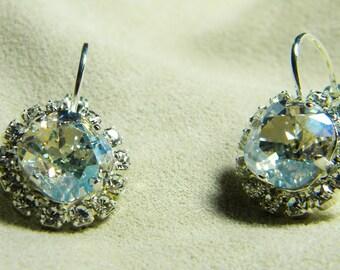 Large Cushion Cut Crystal MoonlightSwarovski Stones in Silver Plated Rhinestone Settings Earrings