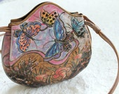 RESERVED for Patricia. Authentic Jane Yoo Handpainted Wearable Art Leather Shoulder Bag. Floral Butterfly Small Crossbody Handbag.